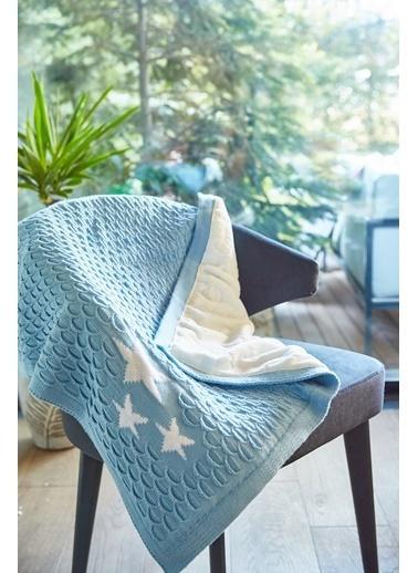 Arma Baby's Çift Taraflı Mavi Yıldızlı Havlu Battaniye 85 x 85 Mavi